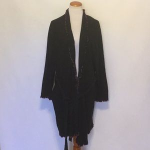 Long Black  Knit Cardigan with Pink Trim